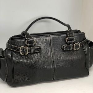 BRIGHTON BLACK CROSSBODY LEATHER HANDBAG